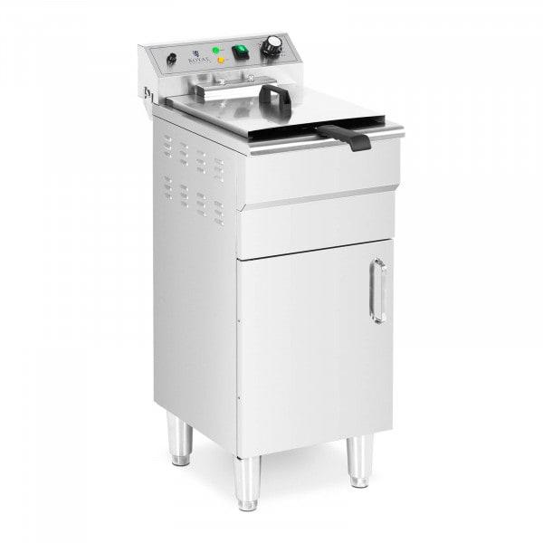 Elektro-Fritteuse - 13 L - 5.000 W - Ablasshahn - Kaltzone - mit Unterschrank