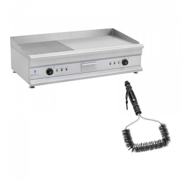 Set Doppel Elektro Grillplatte mit Bürste - 100 cm - geriffelt/glatt - 2 x 3.200 W