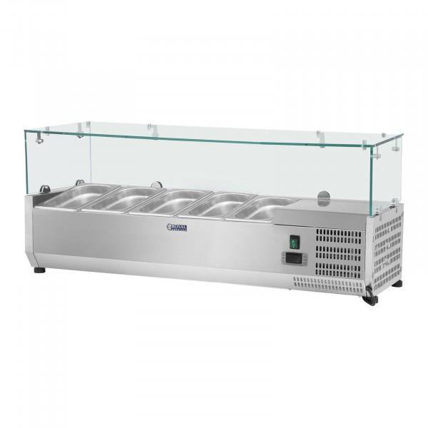 Kühlaufsatzvitrine - 120 x 33 cm - 5 GN 1/4 Behälter - Glasabdeckung