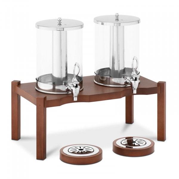 Saftspender - 2 x 7 L - Kühlsystem - dunkles Holzgestell