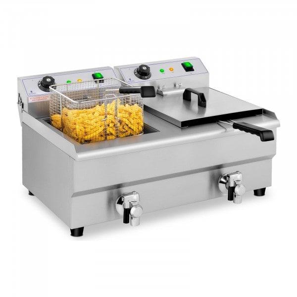 Elektro-Fritteuse - 2 x 13 Liter - Ablasshähne - 230 V