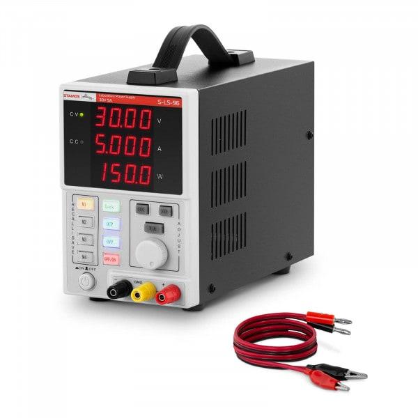 Labornetzgerät - 0 - 30 V - 0 - 5 A DC - 150 W - 4 Speicherplätze - 4-stellige LED-Anzeige