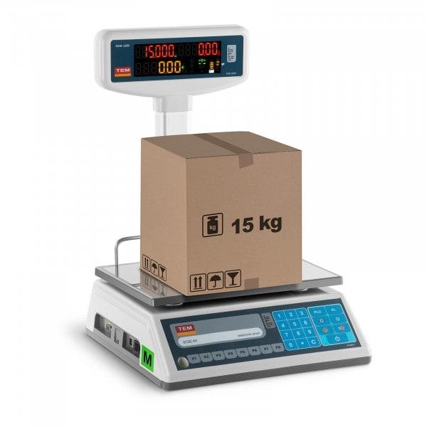 Preisrechenwaage mit LED-Hochanzeige - geeicht - 6 kg/2 g - 15 kg/5 g