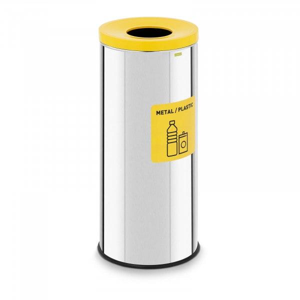 Abfalleimer - 45 L - chrom - Wertstoff Label