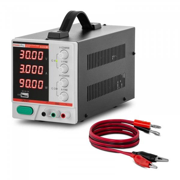 Labornetzgerät - 0 - 30 V - 0 - 3 A DC - 90 W - 4-stellige LED-Anzeige - USB