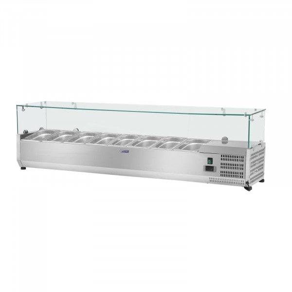 Kühlaufsatzvitrine - 180 x 39 cm - 8 GN 1/3 Behälter - Glasabdeckung