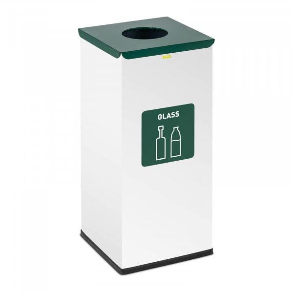 Abfalleimer - 60 L - weiß - Glas Label