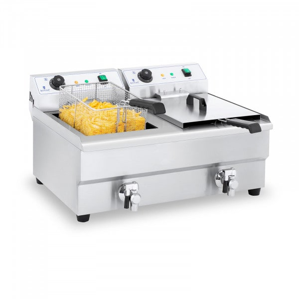 Doppel Elektro-Fritteuse - 2 x 16 Liter mit Ablasshahn