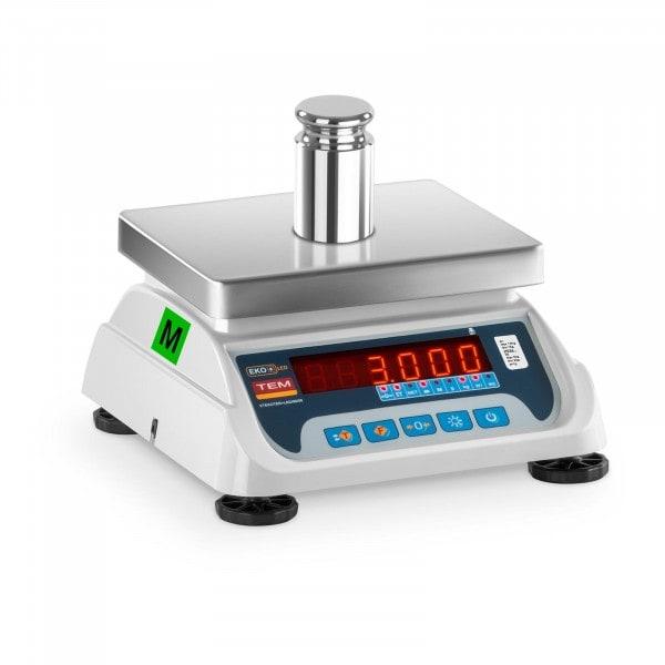 Tischwaage - geeicht - 1,5 kg/ 0,5g - 3 kg/1 g - LED