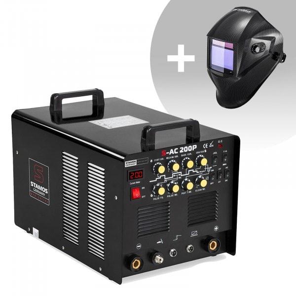 Schweißset ALU Schweißgerät - 200 A - 230 V - Puls - inkl. Fußpedal + Schweißhelm – Carbonic