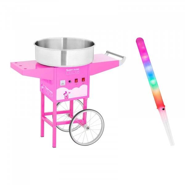 Zuckerwattemaschine Set mit Zuckerwattestäbchen und Wagen - 52 cm - 1.200 W - pink