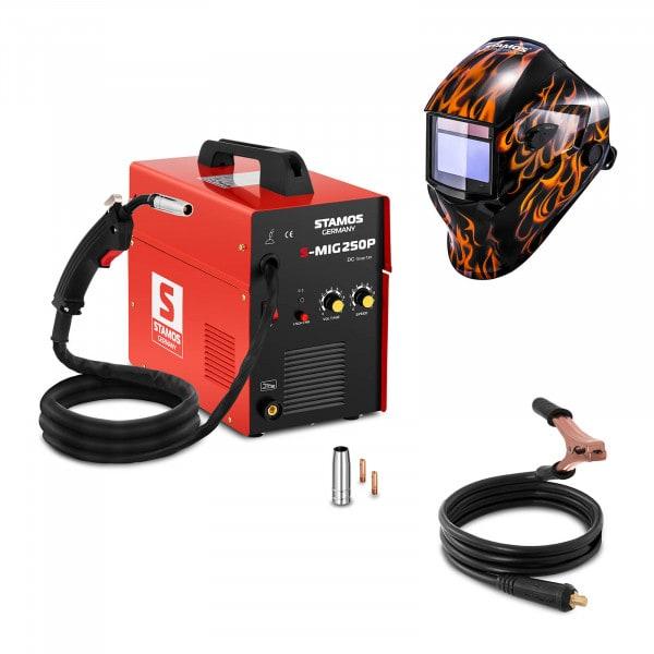 Schweißset MIG/MAG Schweißgerät - 250 A - 230 V - tragbar + Schweißhelm – Firestarter 500