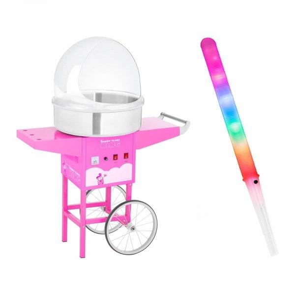 Zuckerwattemaschine Set mit Zuckerwattestäbchen - Spuckschutz - Wagen - 52 cm - 1.200 W - pink