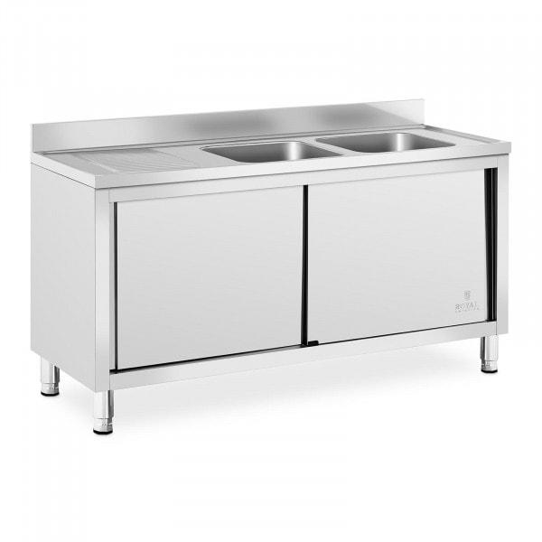 Spülenschrank - 2 Becken - Royal Catering - Edelstahl - 400 x 400 x 250 mm
