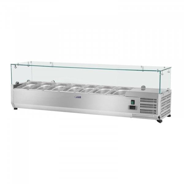 Kühlaufsatzvitrine - 160 x 39 cm - 7 GN 1/3 Behälter - Glasabdeckung