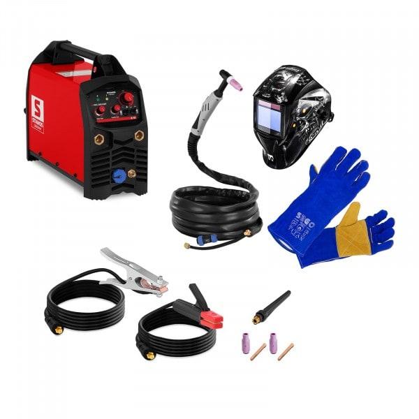 Schweißset WIG Schweißgerät - 200 A - IGBT + Schweißhelm METALATOR + Schweißerhandschuhe