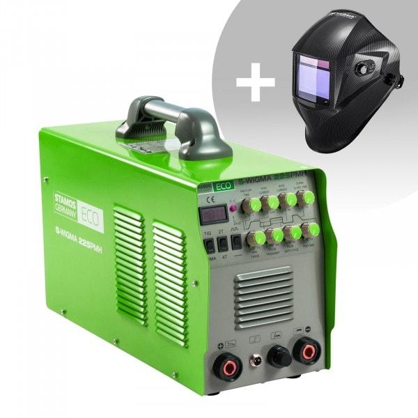 Schweißset WIG Schweißgerät - 225 A - 230 V - Puls - 2/4 Takt - ECO + Schweißhelm – Carbonic