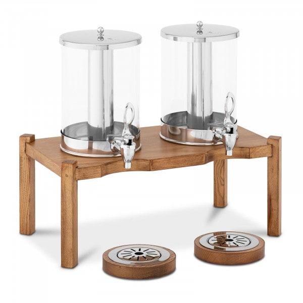 Saftspender - 2 x 7 L - Kühlsystem - helles Holzgestell