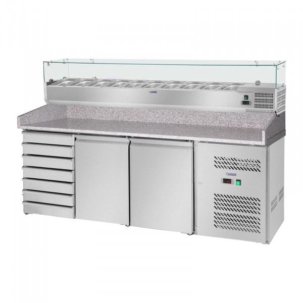 Pizzakühltisch mit Kühlaufsatzvitrine - 702 L - Granitarbeitsplatte - 2 Türen