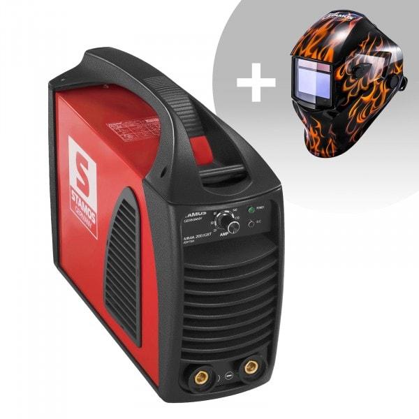 Schweißset Elektroden Schweißgerät – 200 A – Hot Start - IGBT + Schweißhelm – Firestarter 500