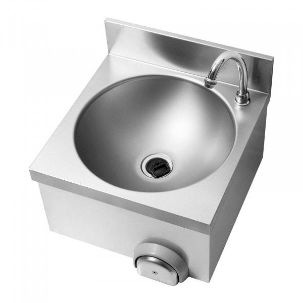 Knie-Kontakt Handwaschbecken - inkl. Armatur - Edelstahl/verchromtes Messing - Länge Hahn 140 mm