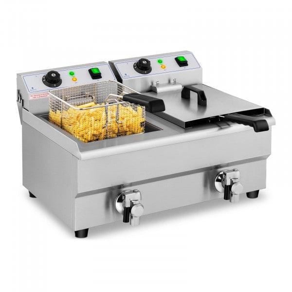 Elektro-Fritteuse - 2 x 10 Liter - Ablasshähne - 230 V
