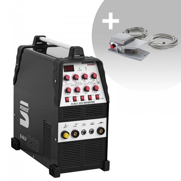Schweißset ALU Schweißgerät - 200 A - 230 V - Puls - 2/4 Takt + Fußpedal - S-ALU-220