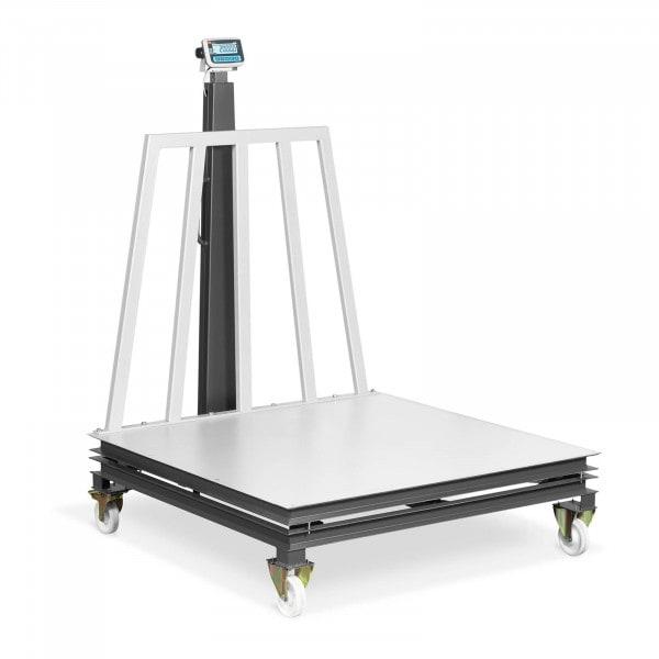 Plattformwaage - geeicht - 500 g (0-1.500 kg) / 1 kg (1.500-2.000 kg) - 1500 x 1500 mm - rollbar