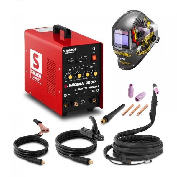 Schweißset WIG Schweißgerät - 200 A - 230 V - Puls + Schweißhelm – Eagle Eye
