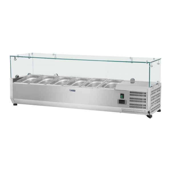 Kühlaufsatzvitrine - 140 x 39 cm - 5 GN 1/3 Behälter - Glasabdeckung