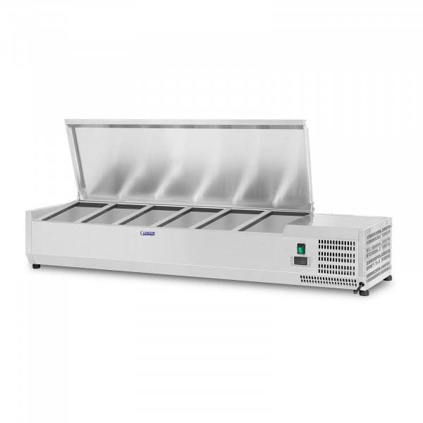 Kühlaufsatzvitrine - 140 x 33 cm - 6 GN 1/4 Behälter