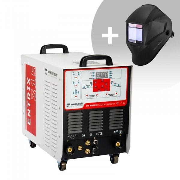 Schweißset ALU Schweißgerät - 315 A - 400 V - Puls - digital - 2/4 Takt + Schweißhelm – BlackONE