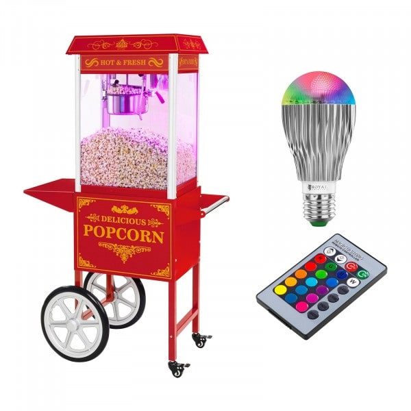 Popcornmaschine mit Wagen und LED-Beleuchtung - Retro-Design - rot