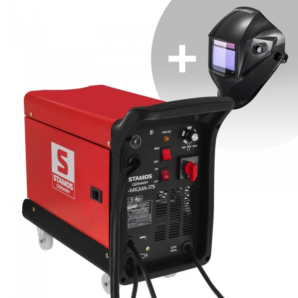 Schweißset Kombi-Schweißgerät - 175 A - 230 V - tragbar + Schweißhelm – Carbonic