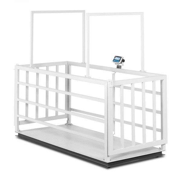 Tierwaage - geeicht - 200 g (0-600 kg) / 500 g (600-1.500 kg) - tiergerecht mit Gitter - LCD